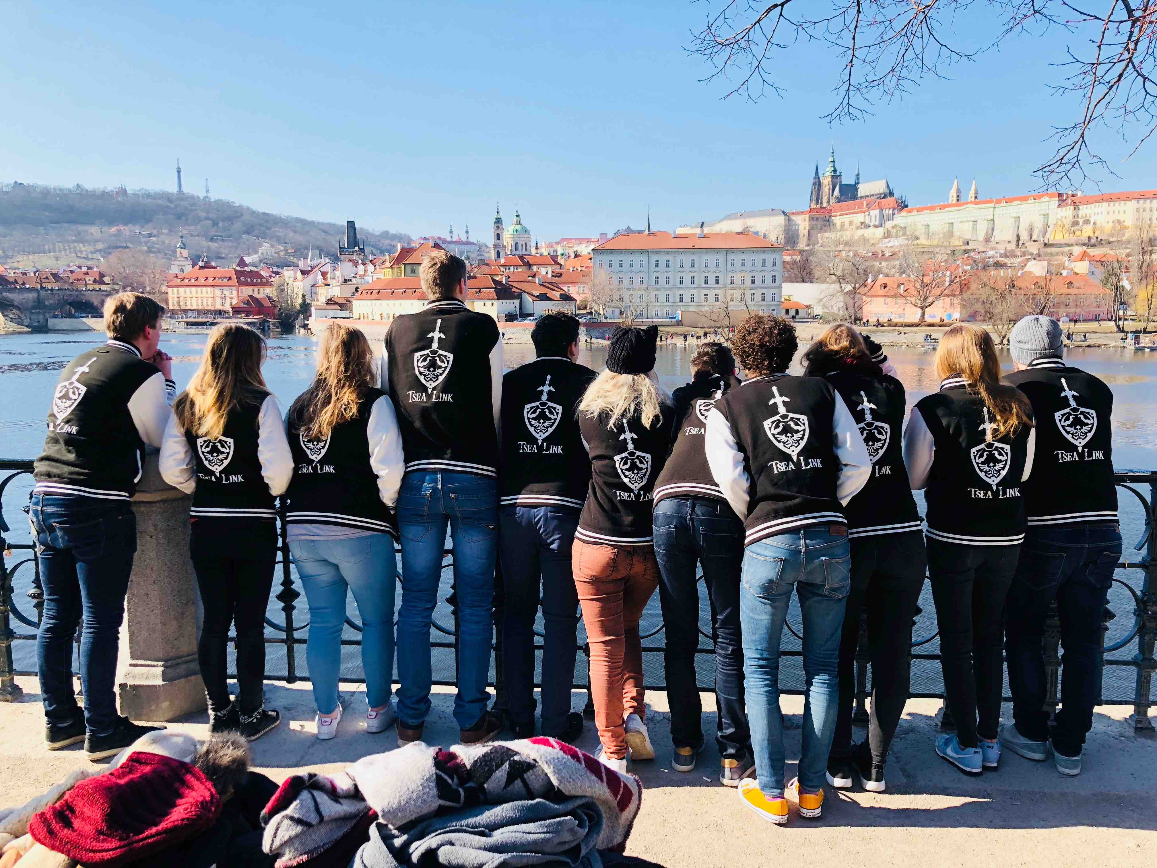 Link Members in Prague looking over the river and city